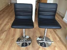 Two (2) adjustable black bar stools- pair- faux leather and metal