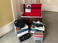 Pentax 35 mm SLR Camera, 2 Lenses & Hard Carry Case