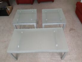 Matching Metal and glass coffee table and 2 side occasional tables