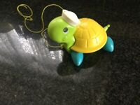 Vintage Fisher Price pull along turtle 1970s