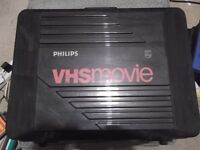 Philips VKR6820 full-size VHS videocamera with hard carry case plus 15 tapes