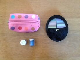 No7 Make Up Kit, Bag and glitter pots.