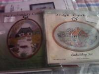 Two new embroidery kits with flexi-hoops without threads.Pictures are country scenes.