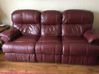 Leather reclinable sofa and reclinable arm chair