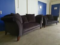 FABB SOFAS BLACK FABRIC / VELVET ZANZIBAR SUITE 2 x 2 SEATER SOFAS DELIVERY AVAILABLE