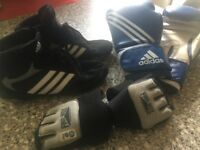 Adidas Boxing Gear. Blue 14oz Gloves, Size 8 black boots, Medium gel hand-wraps