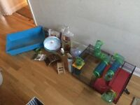 Spinning wheel, ball and tubes for hamster cage
