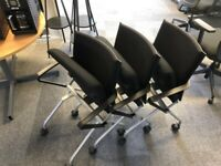 office folding flip chair Steelcase conference reception on wheel