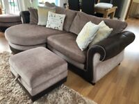 Beautiful 4 seater sofa, Cuddle chair & footstools