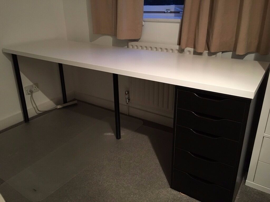 Long ikea linnmon white table 2m long plus set of for Ikea table 9 99