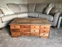 Solid wood coffee table with drawers and storage