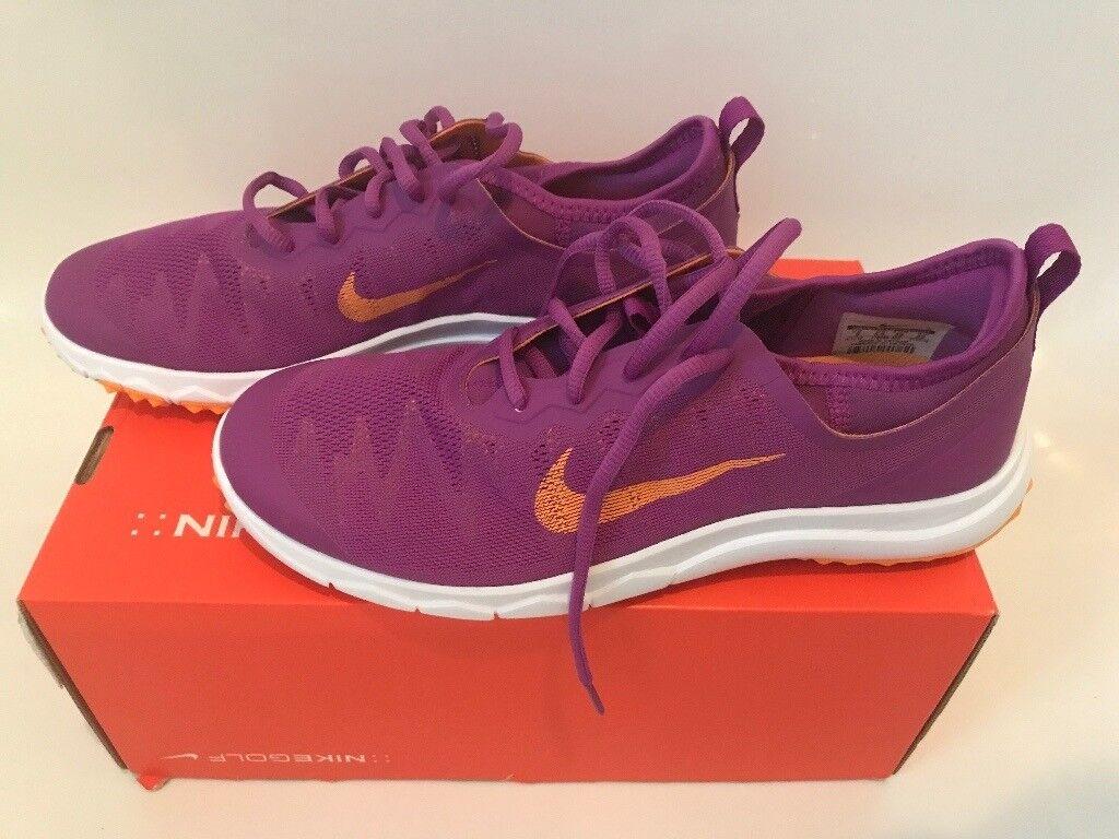 301cde802d59 NEW Nike F1 Bermuda Spikeless Womens Golf Shoes Purple Orange White Size UK  5.5