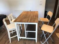 Breakfast Bar Table island with 4 Chairs