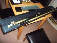 cue craft sherwood 3/4 snooker cue / extension & case