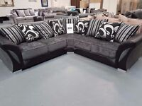 Brand New Large Black & Grey Corner Sofas. Approx 240 by 240.In Stock & Free Delivery Up To 25 Miles