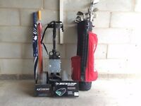 Golf trolley, bag, clubs and more