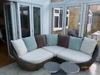 Beautifully designed real rattan large 3 piece conservatory corner sofa with 7 cushions
