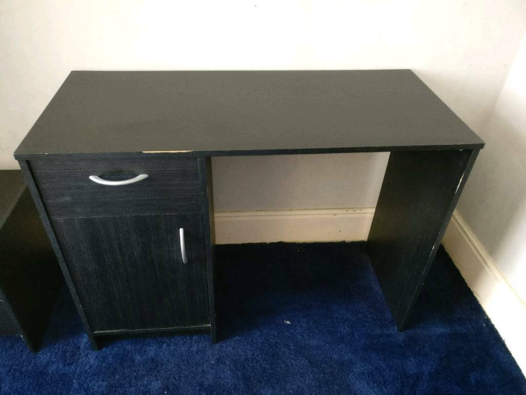 Black Desk With 1 Draw And Cupboard