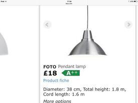 NEW - IKEA chrome ceiling light
