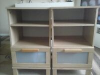 Two identical bedside tables in good condition