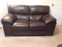 **LIKE NEW** Brown leather Aldo 2 seater sofa £250 ONO