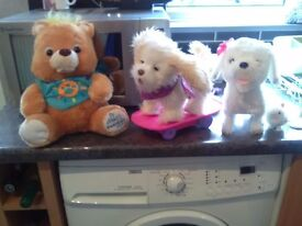 3 toys , two remote control one s and one talking teddy