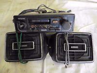 Car Cassette Radio and Speakers