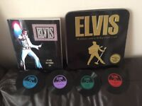 Elvis Book & four record coasters