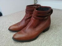 Ankle boots two pairs 1 brown 1 black, leather fits size 39