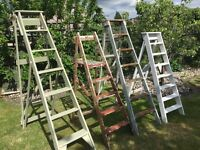Vintage ladders for your garden. Great for displays. Painted or original condition. Lots of choices