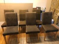 6x Habitat Wooden Dinning Room Chairs with removable Brown Covers