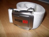 "Rare Diesel Belt Buckle - Air Plane Belt Style - White and Metal - Size Max 41"" Adjustable Waist"