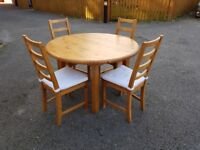 Solid Pine Round Dining Table & 4 Ikea High Ladder Back Chairs FREE DELIVERY 315