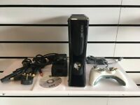 Black Microsoft Xbox 360 S Slim Console 250GB Hard Drive with controller, cables and FIFA 2013