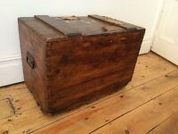 Antique Travel Trunk Chest Steamer Box Coffee Table Worn and Vintage