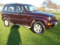 (4X4) JEEP CHEROKEE 2.8td CRD DIESEL AUTO 2 OWNER HI/LOW 4WD MET RED FULL LEATHER TRIM 04 REG £1995