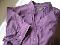 SHORT SLEEVE COTTON BLOUSE/SHIRT - SIZE 14 - DEBBIE SCHUCHAT
