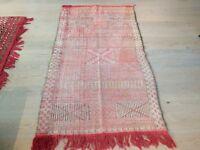 Original Hand Made Antique Moroccan Carpet Kilim Rug (Medium)