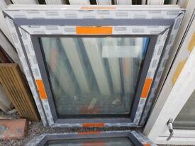 New Anthracite Grey on White UPVC Window 68cm W x 78cm H