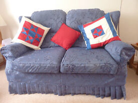 Sofa bed, sofa and matching armchair. Dark blue. Clean and in excellent condition.