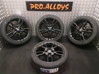 """16"""" FORD FIESTA ST ALLOY WHEELS AND TYRES REFURBISHED GLOSS BLACK 4x108"""