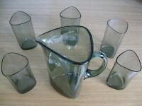 Original 60's Scandinavian smoked glass jug and five matching glasses in perfect condition