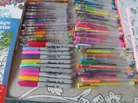 ADULT COLOURING BOOKS AND 80 PENS