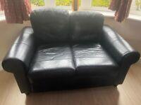 Black leather sofa set 3+2
