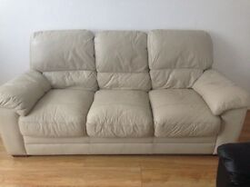 Cream 3seat leather sofa **quick sale**