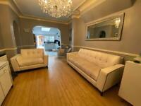 Stunning White Leather Sofa - pls read description