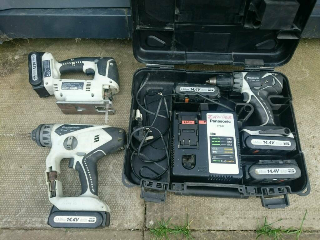 Panasonic EY7440 drill, EY7840 hammer drill, and EY4541 jigsaw