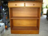 Modern wooden bookcase/display unit with 2 drawers. Not a flat pack unit.