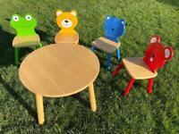 Wooden Children's table and 4 chairs - John Lewis