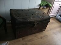 large Old Vintage Metal Trunk like a Treasure Chest with Clasp